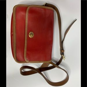 RED AND BROWN CROSSBODY COACH BAG VINTAGE